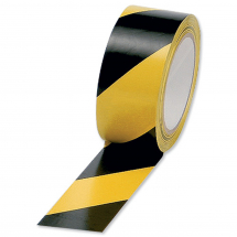 BLACK & YELLOW HAZARD TAPE 50MM X 33MTRS