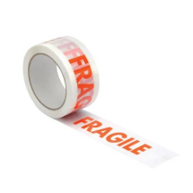 'FRAGILE' TAPE RED PRINTED ON WHITE 50MM X 66MTR ROLL