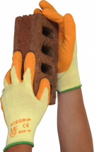 ACE GRIP CONSTRUCTION GLOVES ORANGE LATEX SIZE 9 (L)