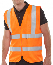 HI VIS ORANGE FLAME RETARDANT WAISTCOAT - LARGE