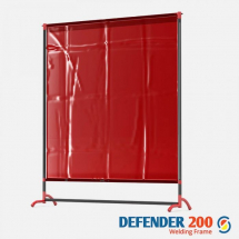 DEFENDER 200 WELDING CURTAIN & FRAME 4FT 6inch X 5FT 1inch RED