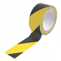 TAPE BLACK & YELLOW HAZARD 50MM 33MTRS