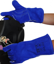 Blue Gauntlet Welding Gloves